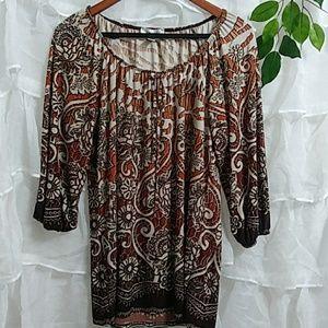 DRESS BARN 3/4 Sleeve Silky Long Print Blouse Q30
